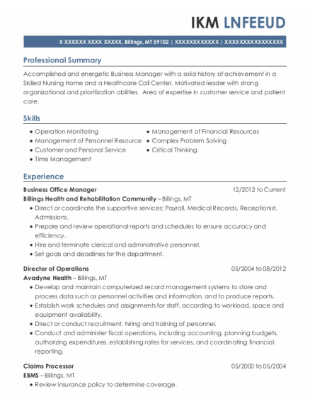 Business Office Manager resume template Montana