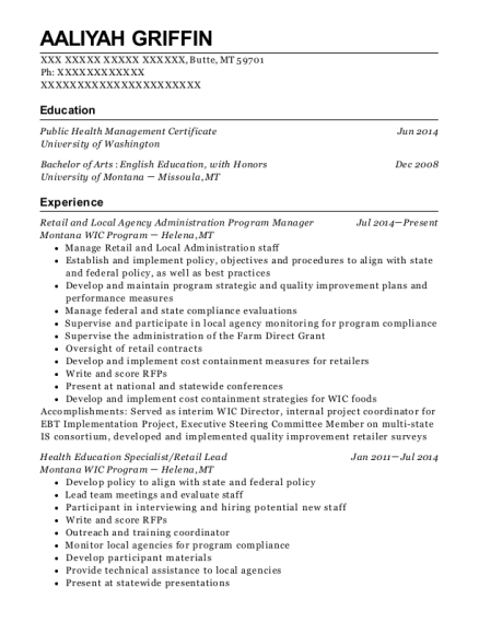 Retail and Local Agency Administration Program Manager resume sample Montana