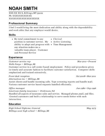 Customer service rep resume format Montana