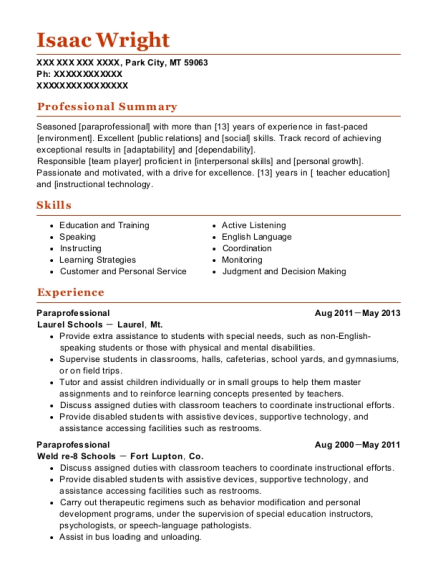 Paraprofessional resume sample Montana