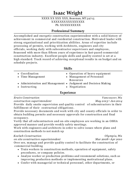 Construction Superintendent resume example Montana