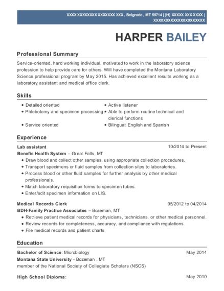Lab assistant resume template Montana