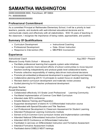 Instructional Coach resume sample Montana