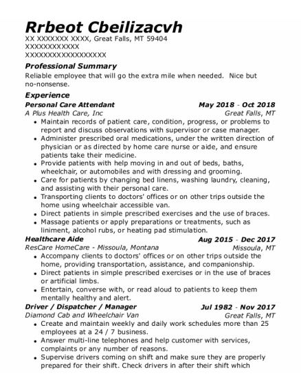 Personal Care Attendant resume example Montana