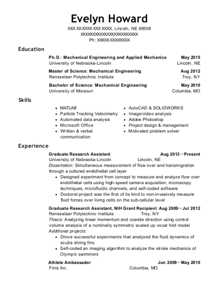 Graduate Research Assistant resume sample Nebraska