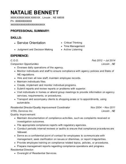 COO resume example Nebraska