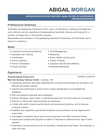 Housekeeping Supervisor resume sample Nebraska