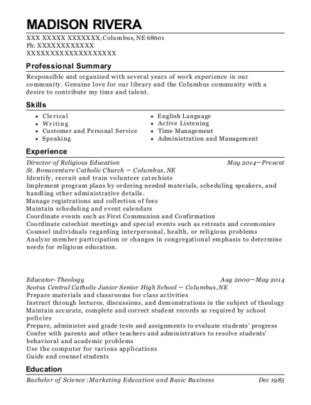 Director of Religious Education resume sample Nebraska