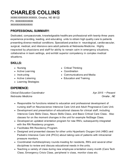 Clinical Education Coordinator resume template Nebraska