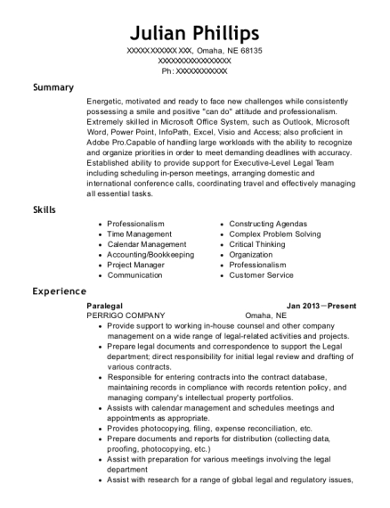 Paralegal resume sample Nebraska