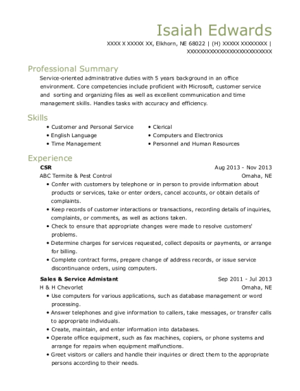 CSR resume example Nebraska