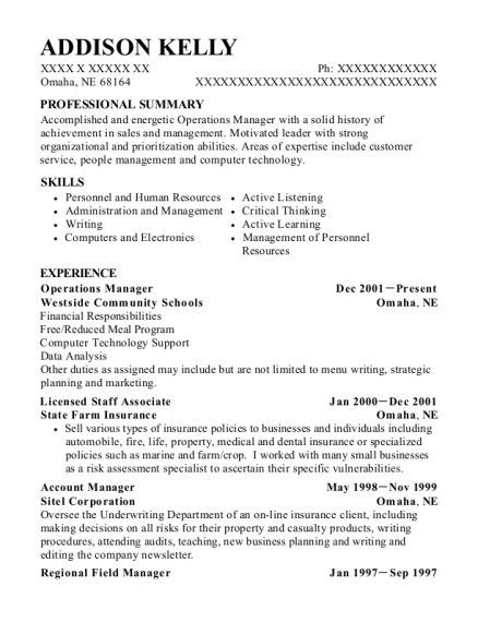 Operations Manager resume example Nebraska