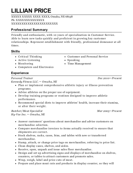 Personal Trainer resume template Nebraska