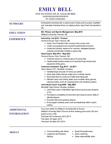 Internship resume example Nebraska