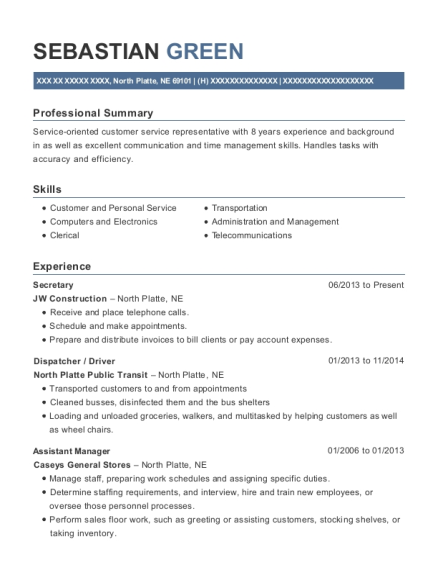 Secretary resume template Nebraska