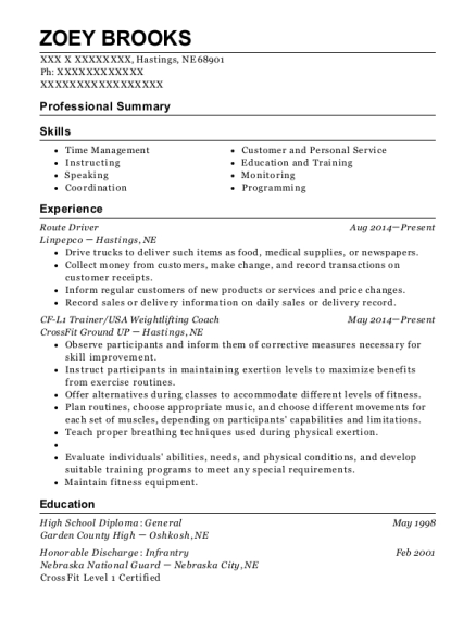 Route Driver resume example Nebraska