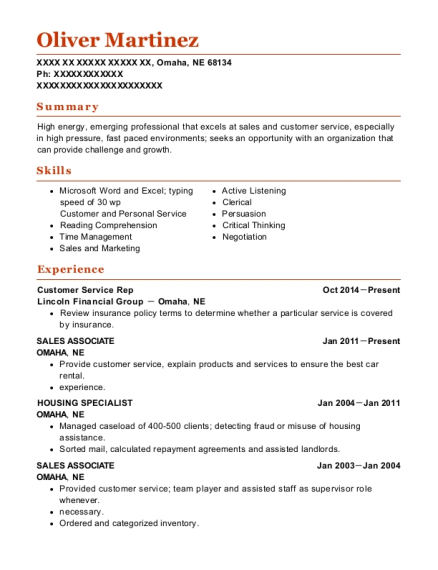 Customer Service Rep resume format Nebraska
