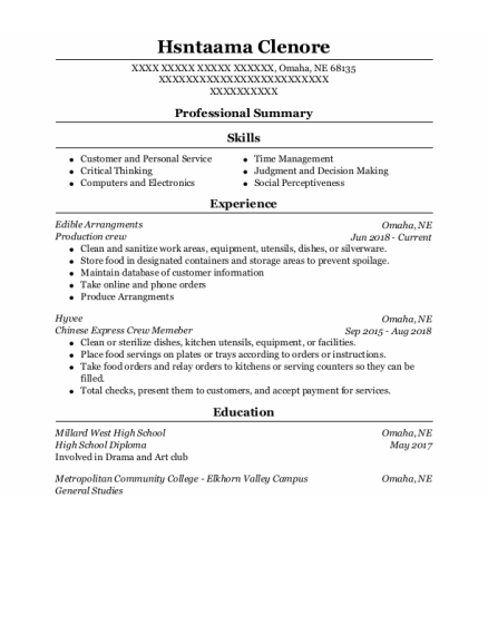 Production Crew resume template Nebraska
