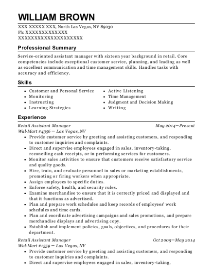 Retail Assistant Manager resume template Nevada