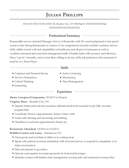 Home Caregiver resume example Nevada