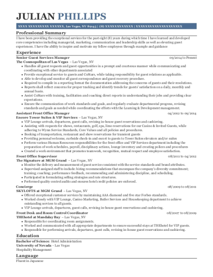 Senior Guest Services Manager resume sample Nevada