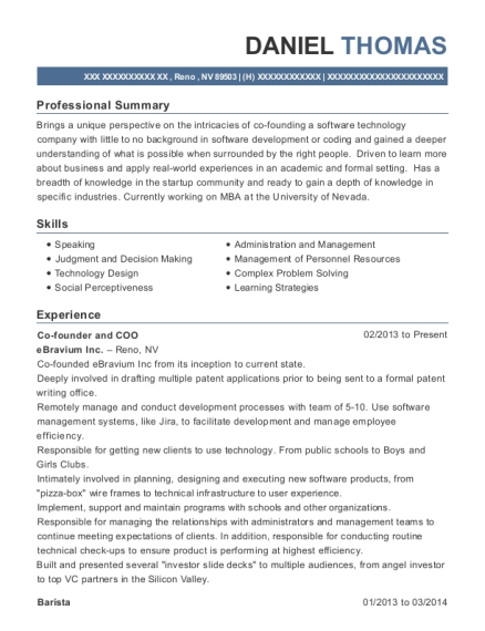 Co founder and COO resume template Nevada