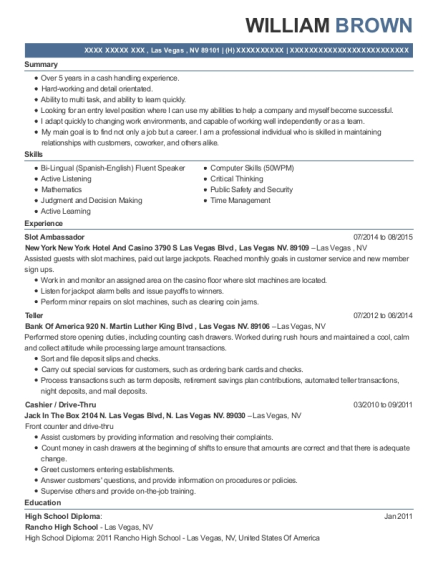 Slot Ambassador resume example Nevada