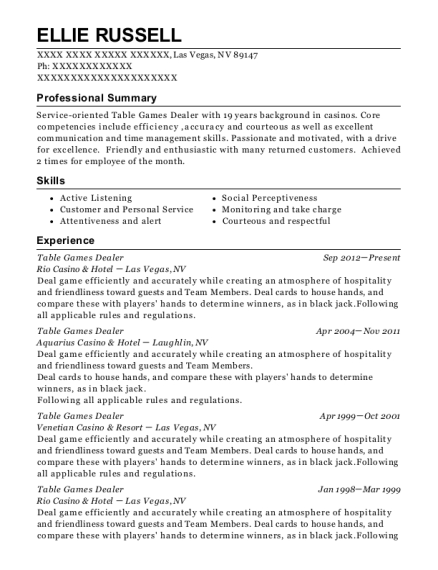 Table Games Dealer resume template Nevada