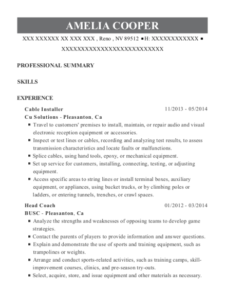 Cable Installer resume example Nevada