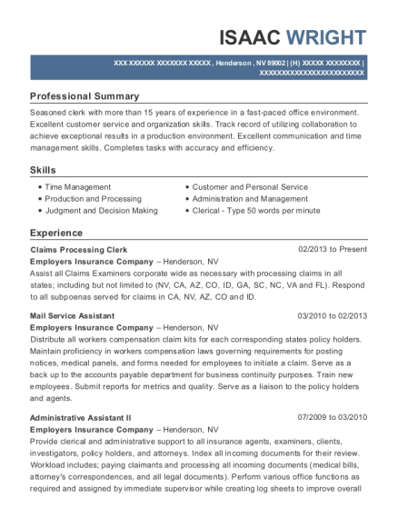 Claims Processing Clerk resume format Nevada