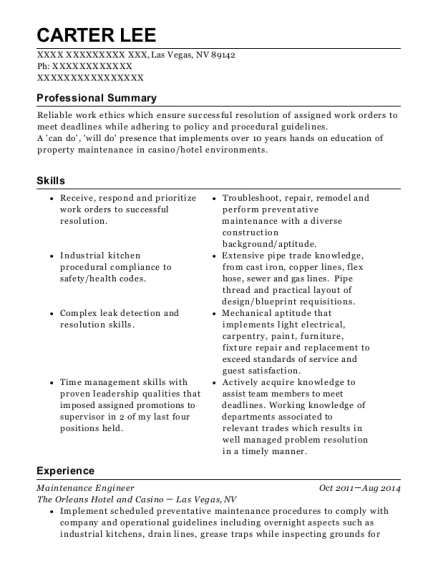 Maintenance Engineer resume format Nevada