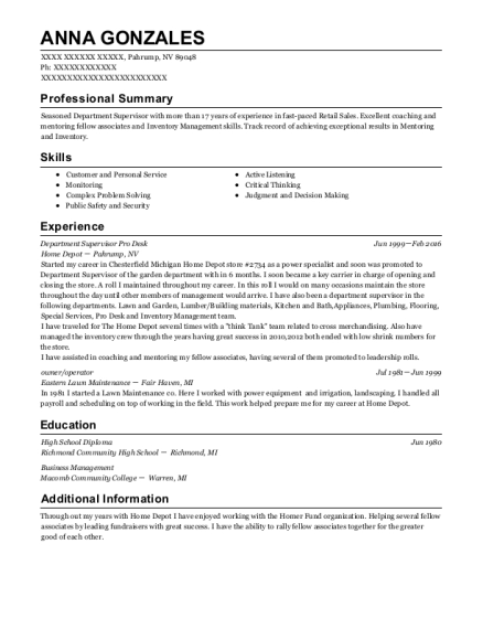 Department Supervisor Pro Desk resume format Nevada