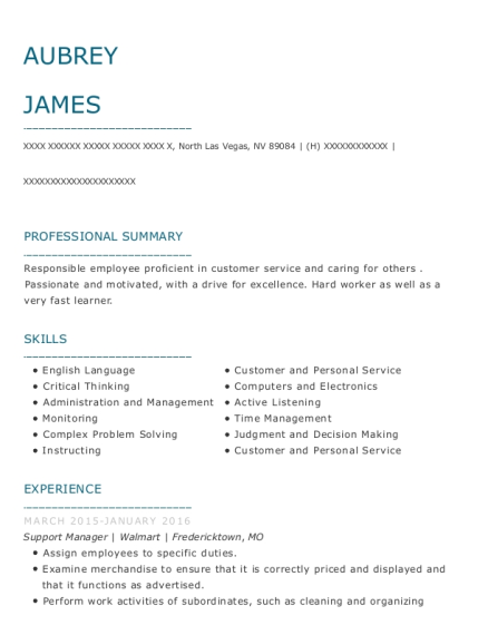 Support Manager resume example Nevada