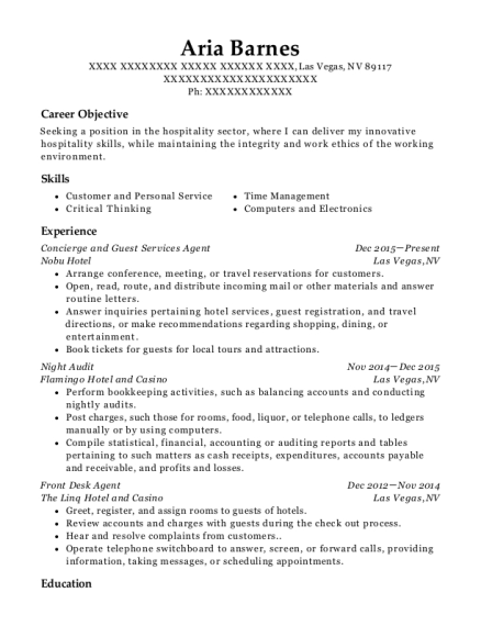 Concierge and Guest Services Agent resume format Nevada