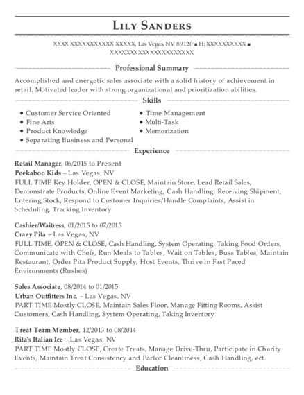 Retail Manager resume example Nevada