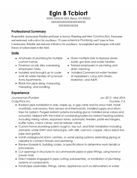 Journeyman Plumber resume template Nevada