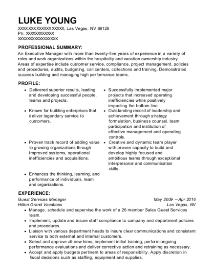Guest Services Manager resume sample Nevada