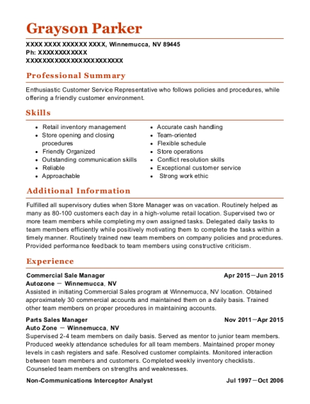 Commercial Sale Manager resume format Nevada