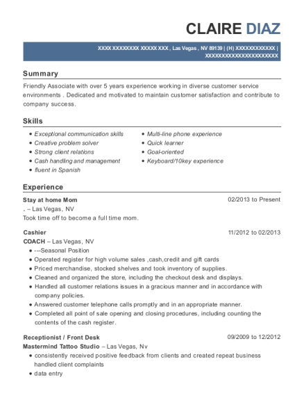 Stay at home Mom resume example Nevada