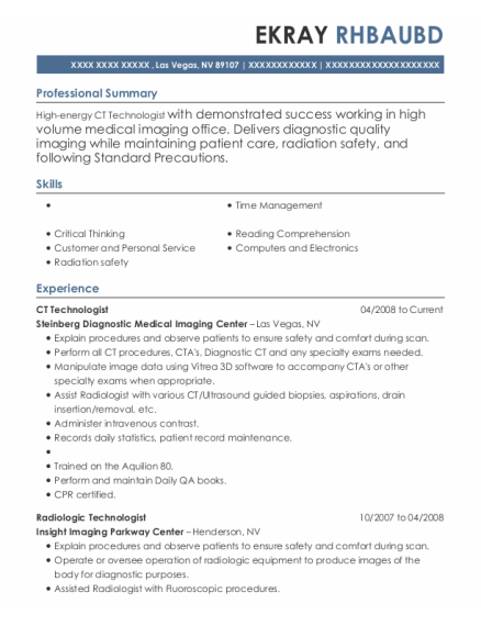x ray technologist resume