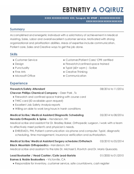 Medical Scribe resume format Nevada