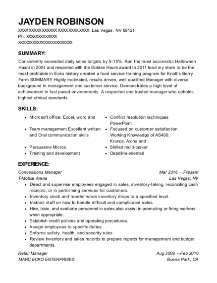 Concessions Manager resume sample Nevada