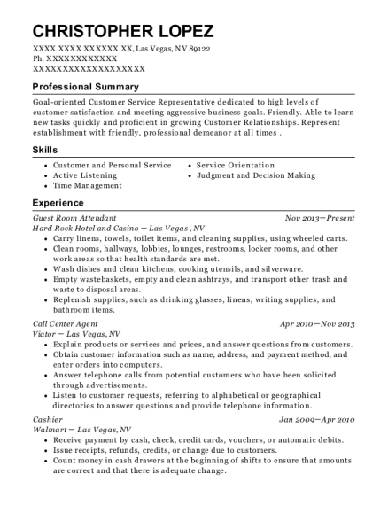 Guest Room Attendant resume sample Nevada