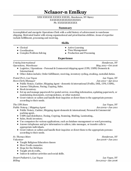 Store Clerk resume example Nevada