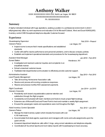 Housekeeping Supervisor resume example Nevada