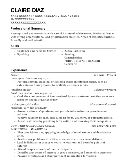 Busser resume example Nevada