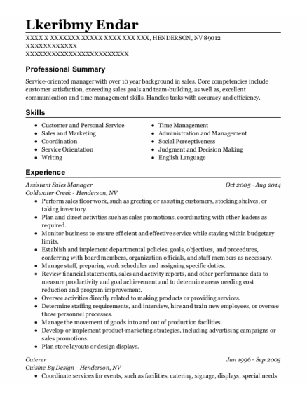 Assistant Sales Manager resume template Nevada