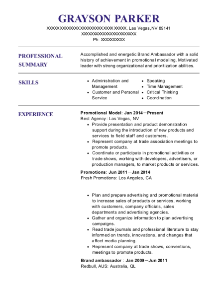 Promotional Model resume format Nevada