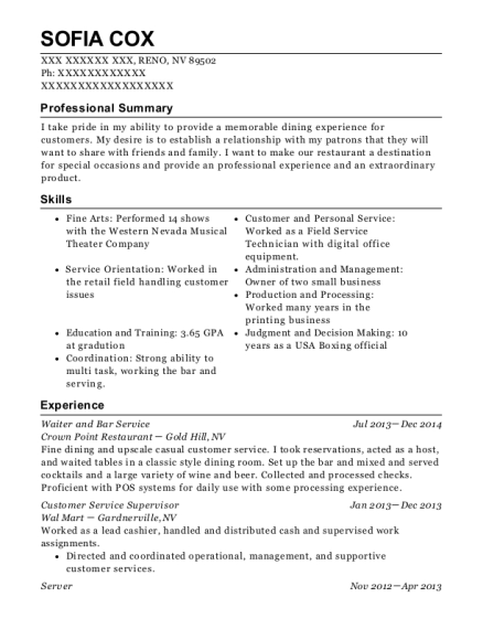 Waiter and Bar Service resume example Nevada