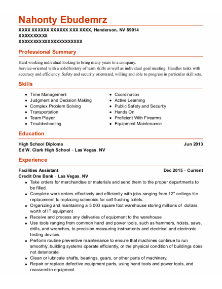 Facilities Assistant resume template Nevada
